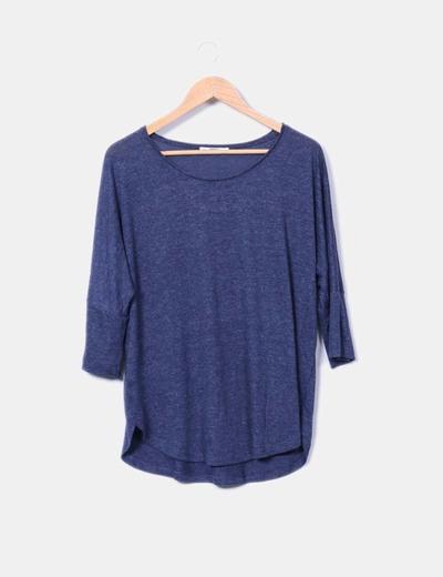 Camiseta azul jaspeada manga francesa Mango