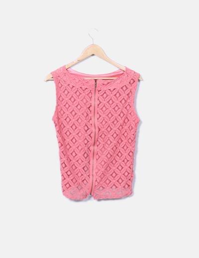Blusa en crochet rosa