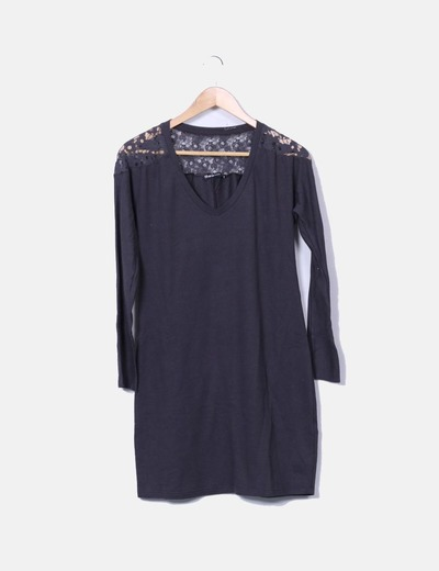 Gray tricot lace detail dress Shana