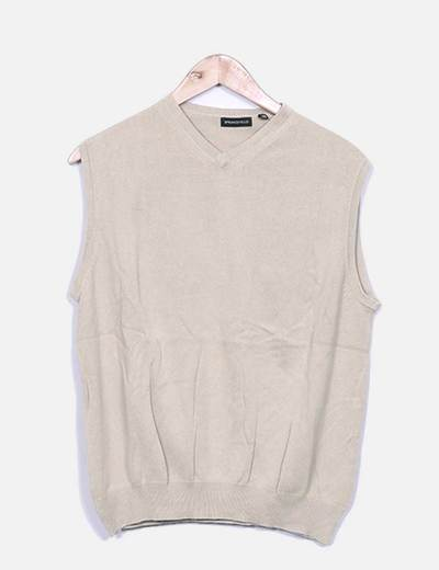 Pull sans manches en tricot camel Springfield