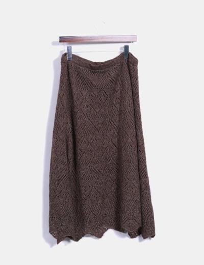 Falda de punto marron midi