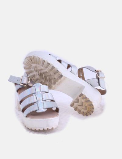 Con Plateada Blancodescuento 82Micolet Ideal Sandalia Tacón Shoes EIWD29H