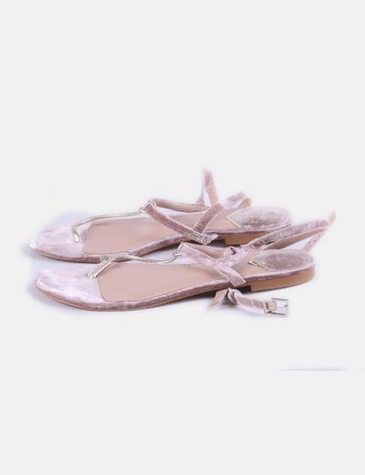 Sandalias terciopelo rosa