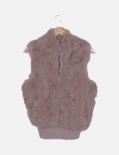 Chaleco tricot marrón pelo de conejo