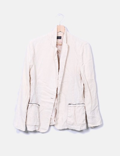 Chaqueta lino beige Zara