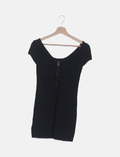 Vestido mini cremallera negro