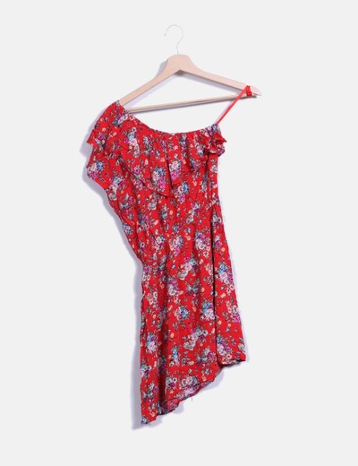 Vestido mini rojo floral asimetrico  NoName