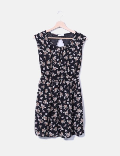 Robe noire imprimé floral Okeysi