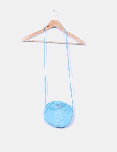 Bolso circular azul texturizado Mango