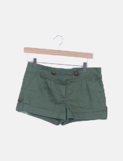 Short denim verde bolsillos