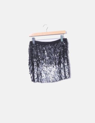 Mini falda paillettes negros