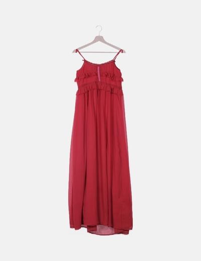 Vestido volantes rojo desflecado