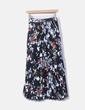 Maxi falda plisada negra floral NoName