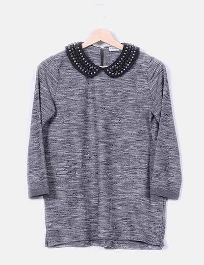 Suéter gris jaspeado solapas de tachas Pull&Bear