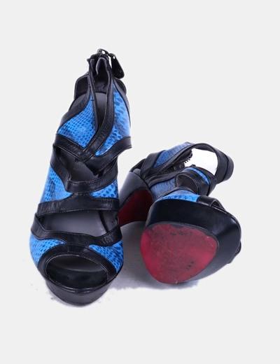 Zapatos abotinados serpiente azul