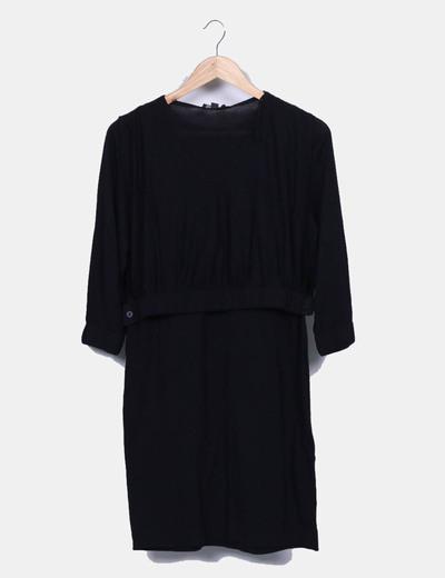 Vestido tricot negro doble top
