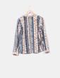 Camisa beige estampada manga larga Via Moda