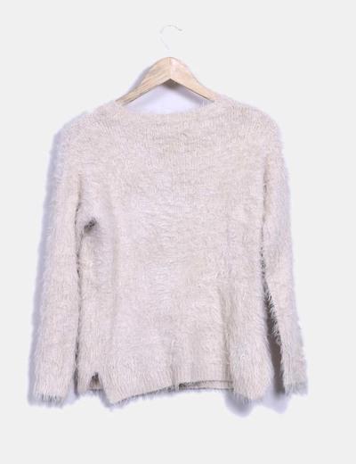 Jersey tricot con pelos y estampado