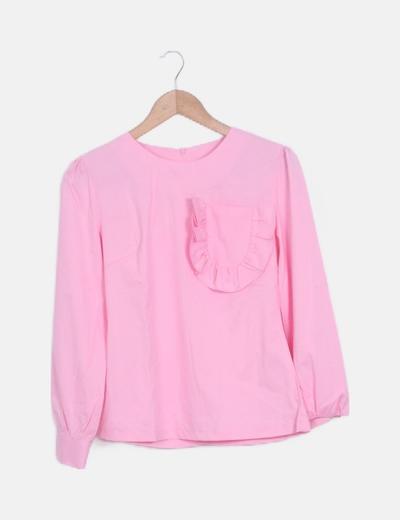 Blusa rosa mangas abullonadas