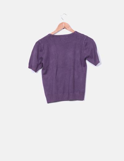 Top tricot morado manga corta