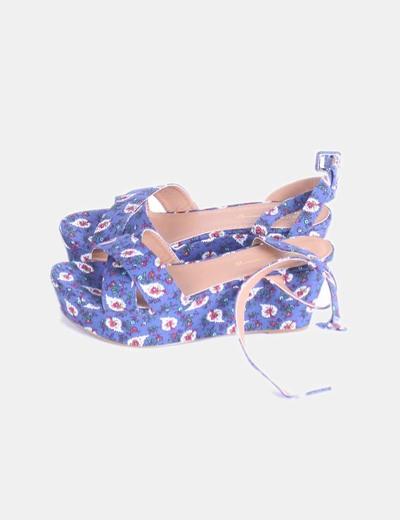 Sandalia azul marino print floral