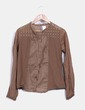 Camisa camel con bordados acotté