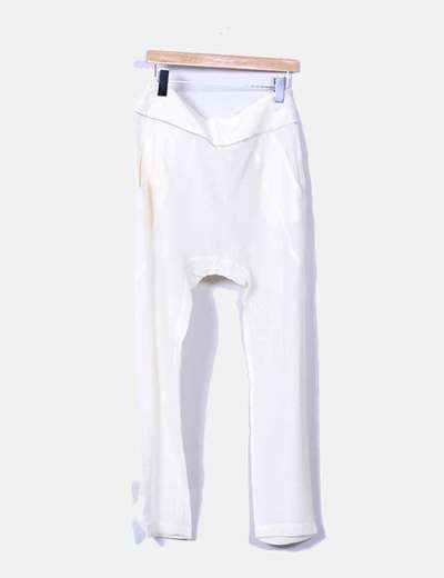 Pantalon baggy de seda semitransparente color crudo