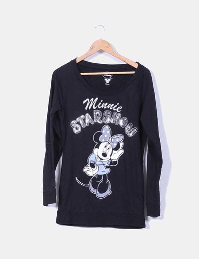 "Sudadera negra ""Minnie"" oversize con lentejuelas Disney"
