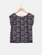 Top puntilla floral negro y plata H&M