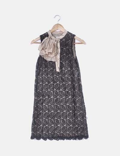 Vestido crochet negro y beige