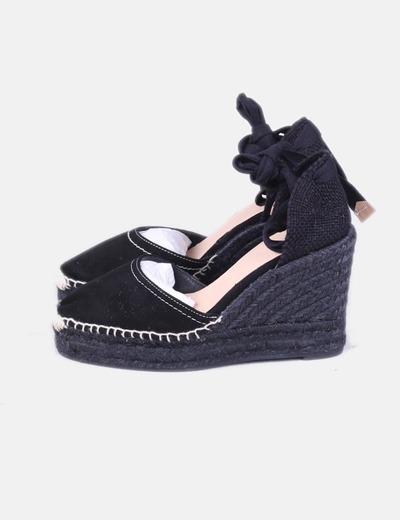 Sandales noires en daim avec sparterie en coin Castañer