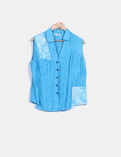 Camisa sin mangas azul satinada  El Corte Inglés