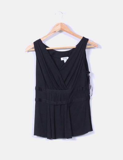 Blusa drapeada negra Moschino