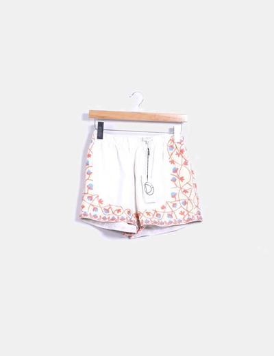 Pantalón lona beige bordado DRESS
