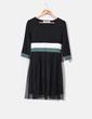 Vestido tricolor falda en negro de tul  Kling