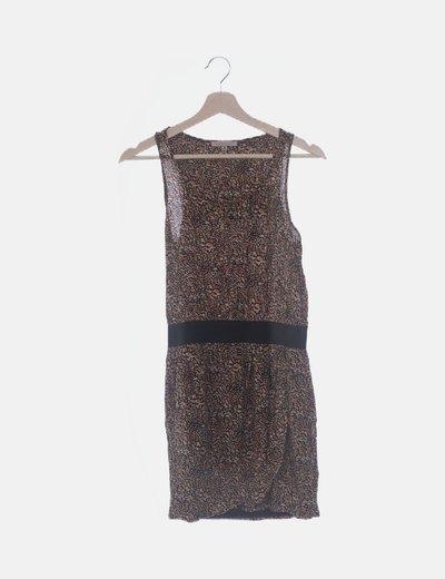 Vestido marrón animal print cintura elástica