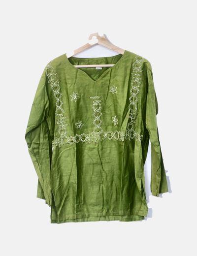 Blusa verde bordada