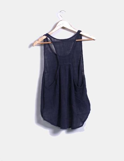 Camiseta lino azul oversize