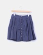 Falda midi azul marina con vuelo y abotonada Pull&Bear