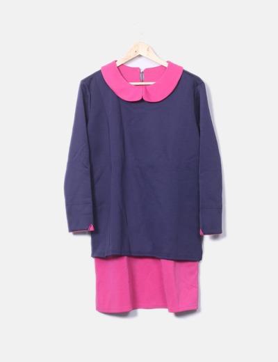 Vestido combinado azul marino y rosa
