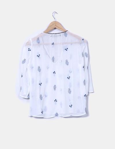 Blusa blanca print floral semitransparente