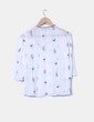 Blusa blanca print floral semitransparente Zara