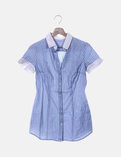Camisa azul de rayas manga corta