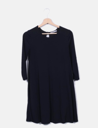 Vestido basic negro manga francesa Bershka