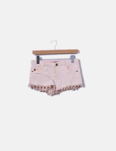 Shorts denim rosa palo