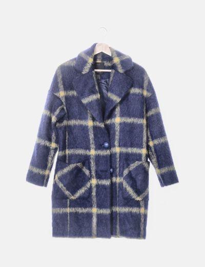 Abrigo de lana azul y verde