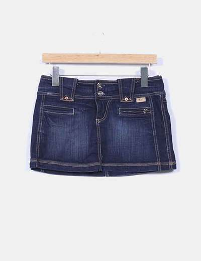 Mini falda denim oscuro Stradivarius