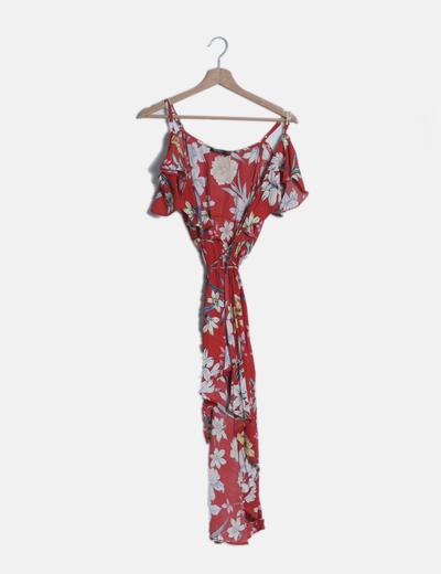 Vestido cruzado rojo estampado floral