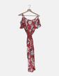 Vestido cruzado rojo estampado floral Bershka