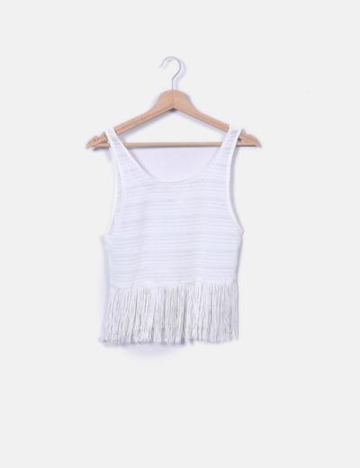 Top tricot blanco con flecos H&M